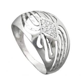 Ring 12mm mit Zirkonias glänzend diamantiert rhodiniert Silber 925 Ringgröße 58