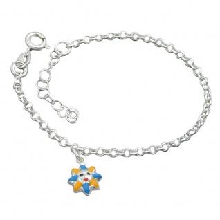 Armband 2, 4mm Erbskette Sonne farbig lackiert Silber 925 14cm