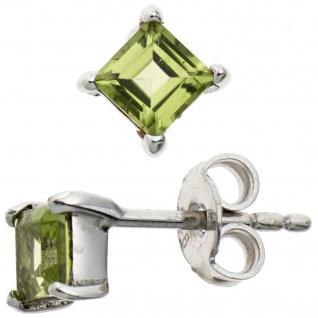 Ohrstecker quadratisch 925 Sterling Silber rhodiniert 2 Peridote grün Ohrringe - Vorschau