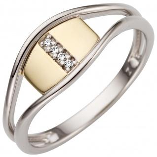Damen Ring 585 Gold Weißgold Gelbgold bicolor 4 Diamanten Brillanten