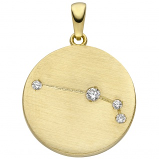 Anhänger Sternzeichen Widder 333 Gold Gelbgold matt 4 Zirkonia Goldanhänger