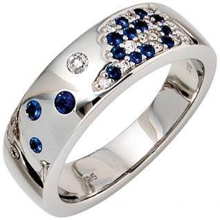 Damen Ring 585 Gold Weißgold 13 Diamanten Brillanten 0, 10ct. 15 Safire blau