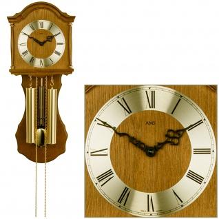 AMS 211/4 Wanduhr mit Pendel mechanisch Holz Eiche Heimuhr Pendeluhr