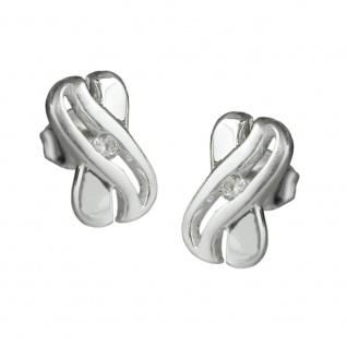 Stecker 10x6mm X-Form mit Zirkonia glänzend Silber 925