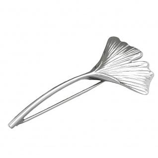 Brosche 58x27mmmm Ginkgoblatt glänzend Silber 925