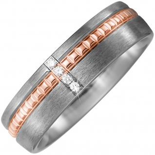 Partner Ring Titan matt mit 750 Rotgold 4 Diamanten Brillanten Partnerring
