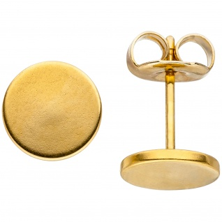 Ohrstecker Studs 8 mm aus Edelstahl gold farben beschichtet Ohrringe