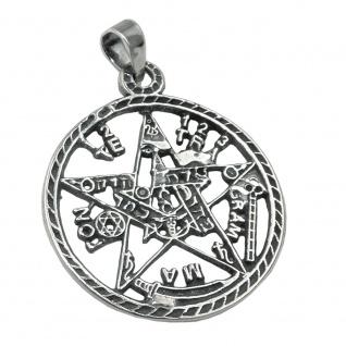 Anhänger 21mm Pentagramm Amulett geschwärzt Silber 925