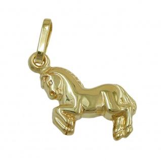 Anhänger 10x11mm Pferd glänzend 8Kt GOLD