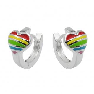 Creole 10x2mm Klappscharnier Herz regenbogenfarbig Silber 925