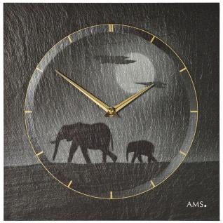 AMS 9524 Wanduhr Quarz Schiefer Naturschiefer Schieferuhr silbern Elefanten