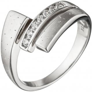 Damen Ring 925 Sterling Silber matt mattiert mit Zirkonia Silberring