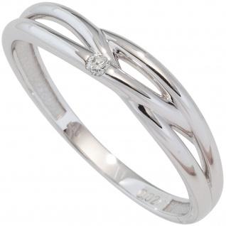 Damen Ring 585 Gold Weißgold 1 Diamant Brillant 0, 02ct. Diamantring Weißgoldring