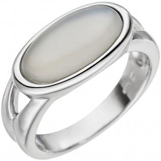 Damen Ring 585 Gold Weißgold 1 Mondstein-Cabochon Weißgoldring Mondsteinring - Vorschau