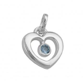 Anhänger 17x16mm Herz synthetischer Blautopas glänzend Silber 925
