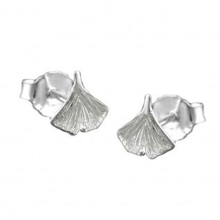 Stecker 7mm Ginkgoblatt glänzend Silber 925