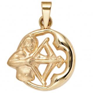 Anhänger Sternzeichen Schütze 375 Gold Gelbgold matt Sternzeichenanhänger