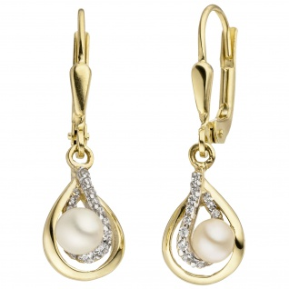 Ohrhänger 375 Gold Gelbgold 2 Süßwasser Perlen 24 Zirkonia Perlenohrringe