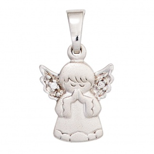 Kinder Anhänger Engel Schutzengel 925 Silber mattiert 2 Zirkonia Kinderanhänger