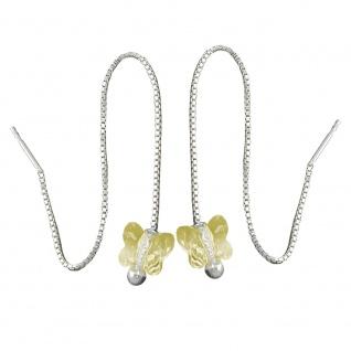 Durchzieher 115x8mm Schmetterling Glasstein hellgelb Silber 925