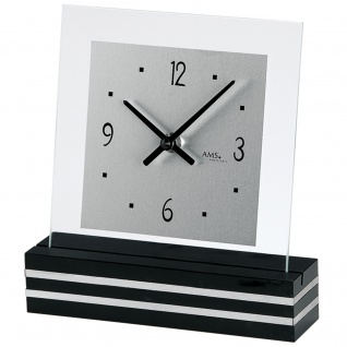 AMS 1107 Tischuhr Quarz analog schwarz modern eckig mit Glas und Aluminium