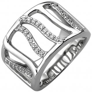 Damen Ring breit 925 Sterling Silber 32 Zirkonia Silberring