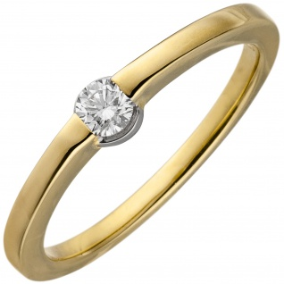 Damen Ring 585 Gold Gelbgold 1 Diamant Brillant 0, 15ct. Diamantring