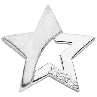 Kinder Anhänger Stern 925 Sterling Silber mattiert 3 Zirkonia Kinderanhänger