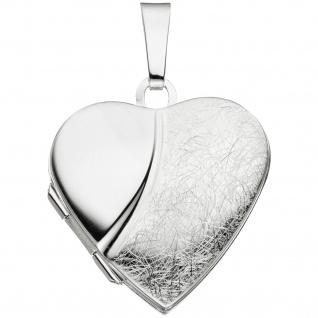 Medaillon Herz 925 Sterling Silber eismatt Anhänger zum Öffnen
