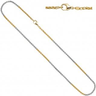 Zopfkette 585 Gelbgold Weißgold bicolor 2, 2 mm 42 cm Gold Kette Goldkette