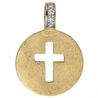 Anhänger Kreuz 585 Gold Gelbgold eismatt 4 Diamanten Brillanten Kreuzanhänger
