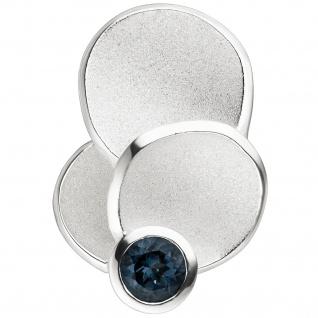 Anhänger 925 Silber teil matt 1 Blautopas hellblau blau Blautopasanhänger
