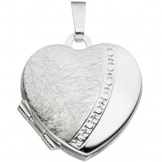 Medaillon Herz für 2 Fotos Herz 925 Sterling Silber eismatt Anhänger zum Öffnen