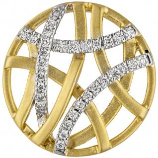 Anhänger rund 585 Gold Gelbgold bicolor matt 31 Diamanten Brillanten