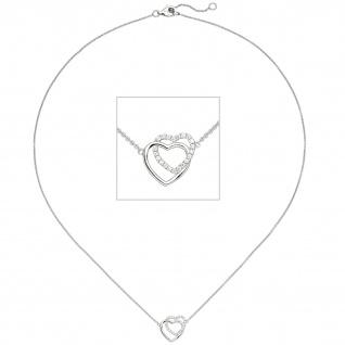 Collier Halskette Herzen 925 Sterling Silber 21 Zirkonia 45 cm Kette Silberkette