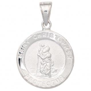 Kinder Anhänger Schutzpatron Christopherus 925 Silber mattiert Kinderanhänger