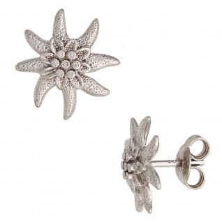 Ohrstecker Edelweiß 925 Sterling Silber rhodiniert mattiert Ohrringe