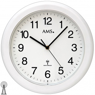 AMS 5957 Wanduhr Baduhr Badezimmeruhr Funk Funkwanduhr weiß rund wasserdicht