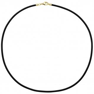 Halskette Kautschuk schwarz mit 333 Gelbgold 2 mm 45 cm Kautschukkette