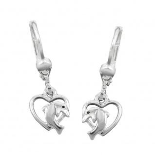 Brisur, Herz mit Delfin, Silber 925