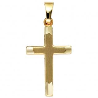 Anhänger Kreuz 333 Gold Gelbgold teil matt Kreuzanhänger Goldkreuz