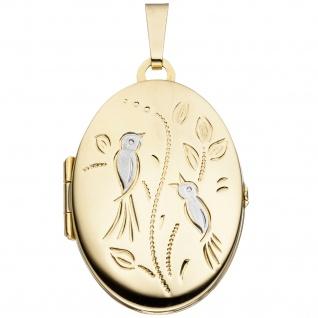 Medaillon Vögel oval für 2 Fotos 333 Gold Gelbgold matt Anhänger zum Öffnen