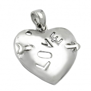 Anhänger 21x21mm Herz mit Pfeil und Inschrift - LOVE - glänzend rhodiniert Silber 925