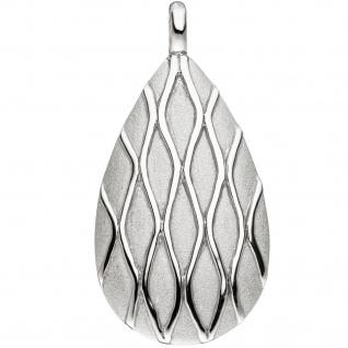 Anhänger Tropfen 925 Sterling Silber matt mattiert Silberanhänger