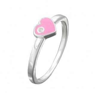 Ring Kinderring mit Herz rosa Silber 925 Ringgröße 44