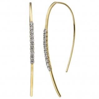 Ohrhänger Ohrhaken 925 Sterling Silber gold vergoldet 20 Zirkonia Ohrringe