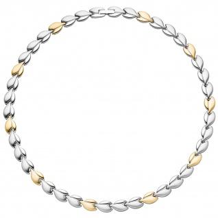 Collier / Halskette aus Edelstahl gold farben beschichtet bicolor 45 cm Kette