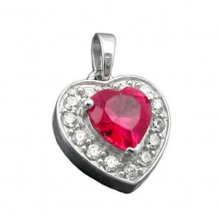 Anhänger 14x13mm Herz Zirkonia rot und viele weiße Zirkonias rhodiniert Silber 925