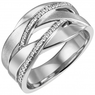 Damen Ring breit 925 Sterling Silber 34 Zirkonia Silberring