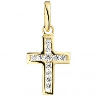 Anhänger Kreuz 375 Gold Gelbgold 11 Zirkonia Kreuzanhänger Goldkreuz